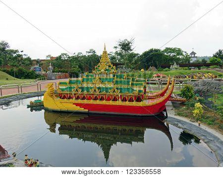 JOHOR MALAYSIA  - NOVEMBER 11 2014:  Karaweik Hall is a gigantic barge on the Shore of Kandawgyi Lake in Yangon, Myanmar LEGOLAND MINILAND Malaysia Theme Park November 11, 2014  in Johor, Malaysia