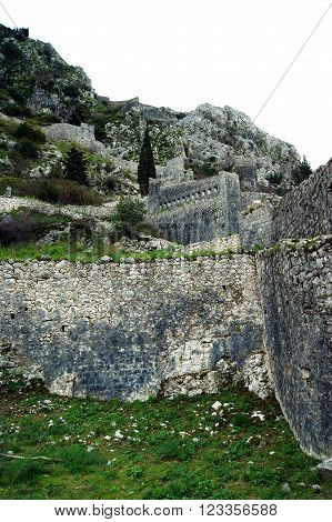 The ancient walls of the fortress town of Kotor, Montenegro