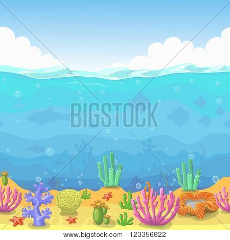 Seamless underwater landscape in cartoon style. Fish and coral. Vector illustration for game design.