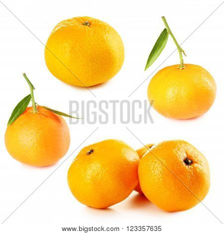Ripe Mandarin Isolated On A White Background, Collage