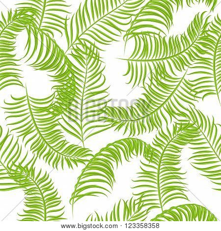 Tropical jungle palm leaves vector pattern background. Exotic nature pattern for fabric, wallpaper or apparel.