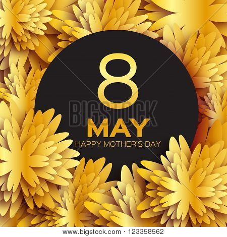 Golden foil Floral Greeting card - Happy Mother's Day - Gold sparkles holiday background with paper cut Frame Flowers. Trendy Design Template for card vip certificate gift voucher present.