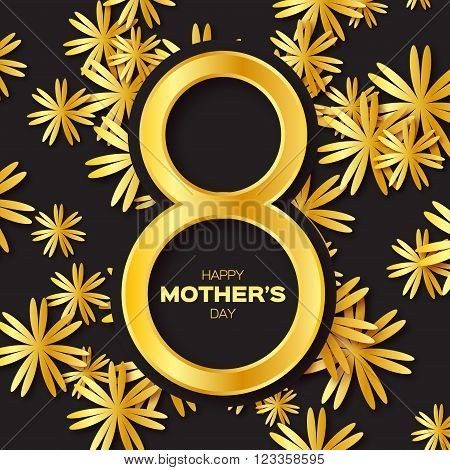 Golden foil Floral Greeting card - Happy Mother's Day - 8 May- Gold sparkles holiday. Black background with paper cut Frame Flowers.Trendy Design Template for card vip certificate gift voucher.