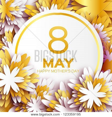 Golden foil Floral Greeting card - Happy Mother's Day - Gold sparkles holiday white background with paper cut Frame Flowers. Trendy Design Template for card vip certificate gift voucher present.