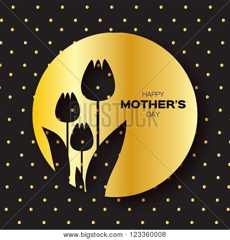 Golden foil Floral Greeting card - Happy Mother's Day - Gold Sparkles holiday black background with Spring Tulips. Paper cut Frame Flowers.Trendy Design Template for card vip gift voucher present.