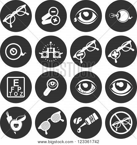 set of vector icons on the theme of care and eye health ophthalmologist