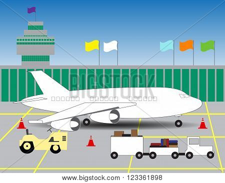 illustration of an airport with a picture of the plane on landing/ terminal of airport