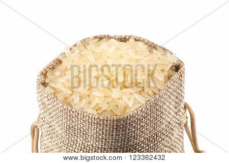 Long Grain Rice On White Background