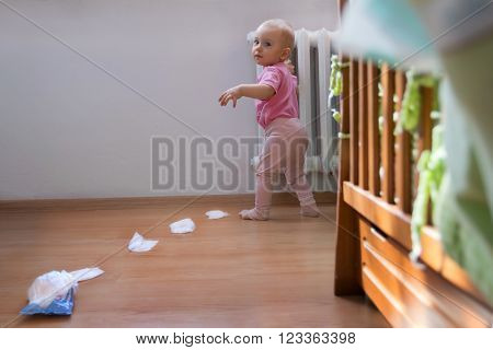 Adorable baby girl made a lot of mess caught red handed