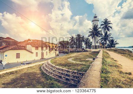 Pictorial view of light houe - Galle fort (Sri Lanka) (Sun)