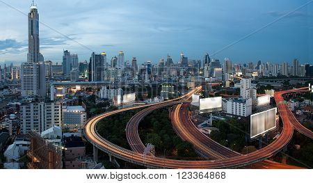 City elevated highway in Bangkok  city Thailand.