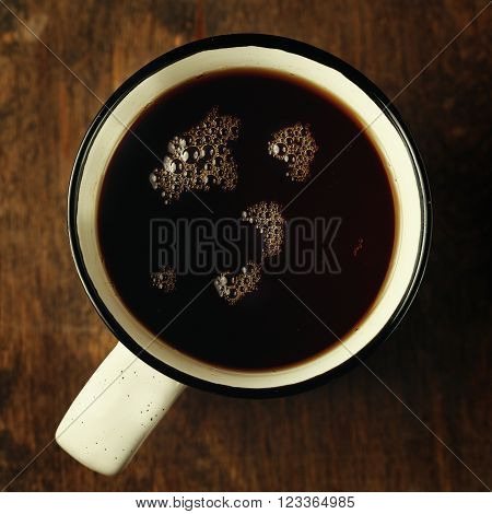 Big Cup Of Tea On Wooden Table