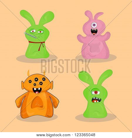 Set of 4 cute colorful monsters with different moods