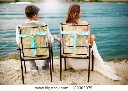 Romantic Young Newlyweds Couple