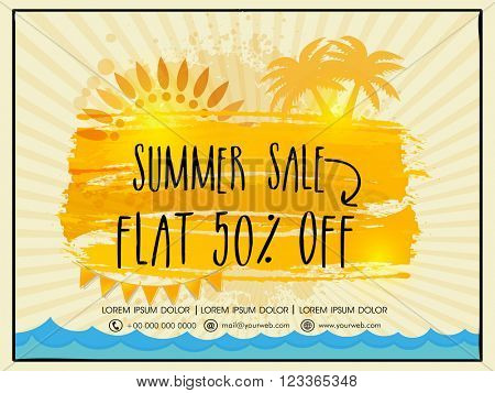 Summer Sale Flyer, Sale Banner, Sale Poster, Flat 50% Discount. Creative vector illustration with palm trees on rays background.