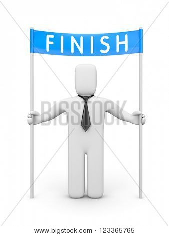 Businessman and blue ribbon in finishing line. 3D illustration