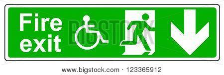 A Fire exit Wheelchair access down sign