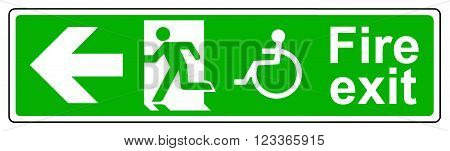 A Fire exit Wheelchair access left sign