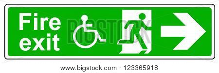 A Fire exit Wheelchair access right sign