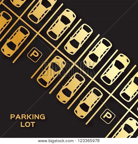 Golden foil Top View Parking lot design. Many cars parked on black background. Vector Illustration.