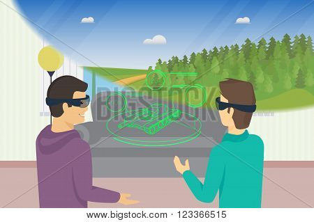 Happy guys is playing video game using head-mounted device for augmented and virtual reality. Conceptual illustration of people look at tank hologram and nature landscape through headset