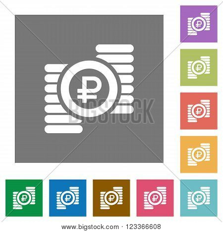 Ruble coins flat icon set on color square background.