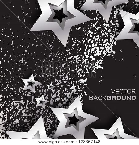 Abstract Origami Silver Stars on black vector background. Cosmic falling shining stars. Trendy Illustration for design