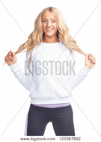 Smiling Woman In White Sweatshirt Isolated