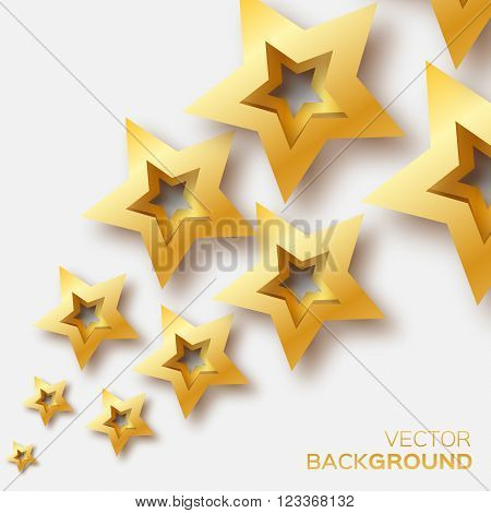Abstract Origami Gold Stars on white vector background. Cosmic falling shining stars. Trendy Illustration for design