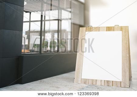 Square stopper standing outside building. Mock up 3D Render