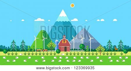 Farm life: natural economy, agriculture, life in the countryside, village landscapes with mountains and hills. Tractor in the field harvests. Sheep-farming. Vector flat illustration
