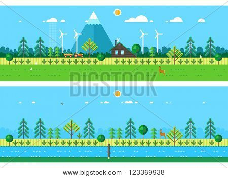 house hunting in the forest. The forest at the foot of the mountains. Wild animals in the wild. Beam over the river. The river in the field. Horizontal banners. The ecological system.