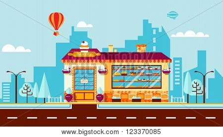 Stock vector illustration city street with bakery in flat style element for infographic, website, icon, games, motion design, video