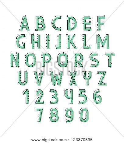 Font in line flat style. Conceptual alphabet. Flat font. Geometric letters. Font of sign. Set of letters in techno style. Cryptography. Modern decorative font