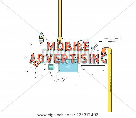 Mobile advertising desing concept in line flat style. Internet commerce. Lineart digital advertising technologies on mobile devices. Concept for business in flat style