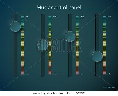 Realistic green metal control panel tumbler. Music audio sound volume knob button minimum maximum level. Rotate switch interface stereo tuner. Design element. Vector illustration