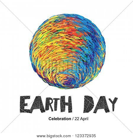 Earth Day Poster. Earth Illustration.  On white. Isolated. Celebration Card template