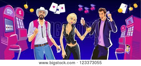 Lucky woman hold casino chips while spinning roulete. Lucky man hold money. Interior casino slot machines chairs light projectors. Design concept for gambling luck ans successful play.