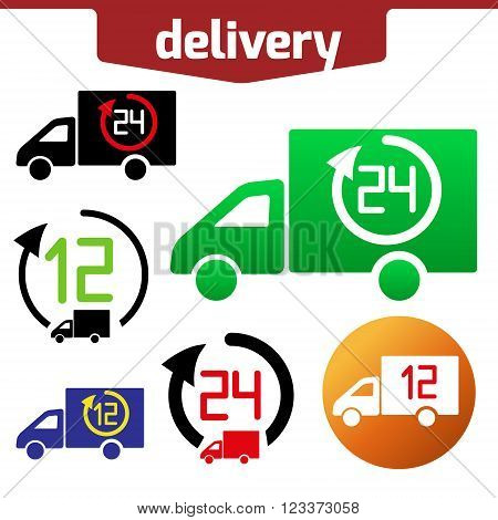 Icons set of Fast delivery. The business. icar and arrow solated on white background.