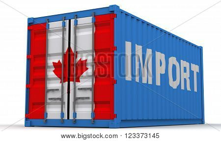 Import of Canada. Freight container on a white surface with inscription