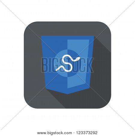 round icon of python framework programming language badge - isolated flat design illustration with long shadow