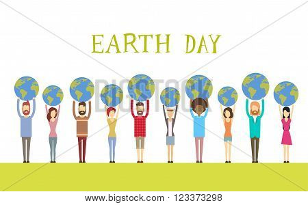 Earth Day Diverse People Group Hold Globe World Flat Vector Illustration