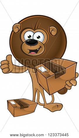 Lion With Round Mane - Holding A Parcel
