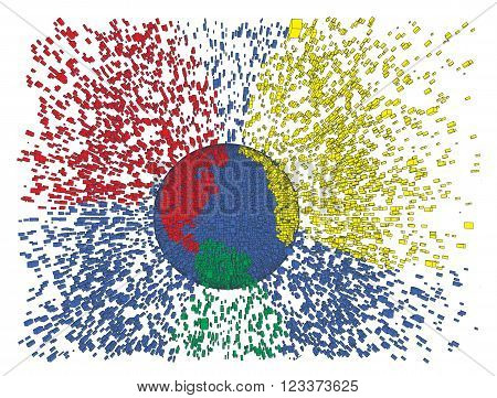 Colorful earth splash abstract vector illustration. Globe explosion. Earth day, big data, global warming, globalization idea. Peacfull friendly toy planet concept.