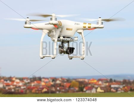 PILSEN CZECH REPUBLIC - MARCH 27, 2016: Drone quadrocopter Dji Phantom 3 Professional with high resolution digital camera. New tool for aerial photo and video.