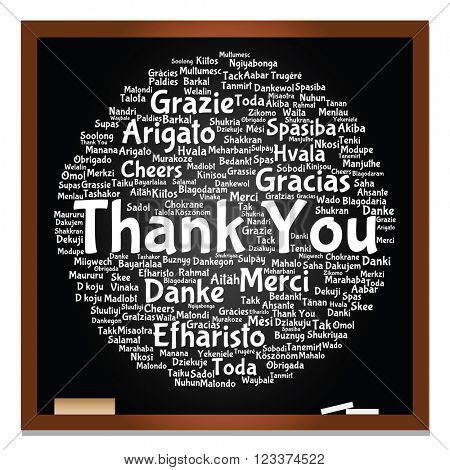 3D illustration concept or conceptual blackboard thank you word cloud, different languages or multilingual for education or thanksgiving day