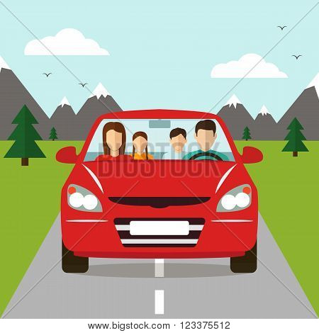Family trip by car. Family Holidays. Vector illustration