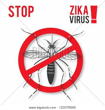 Zika alert banner poster flyer with aegypti aedes mosquito. Aegypti. Forbidden no mosquito sign. High quality graphic design elements isolated on a white background with shadow. Healthcare concept