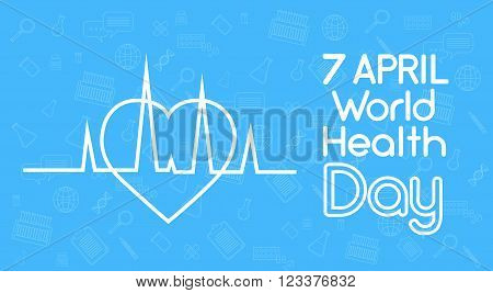 Health World Day Heart Shape With Cardiogram Beat Cardiology Vector Illustration