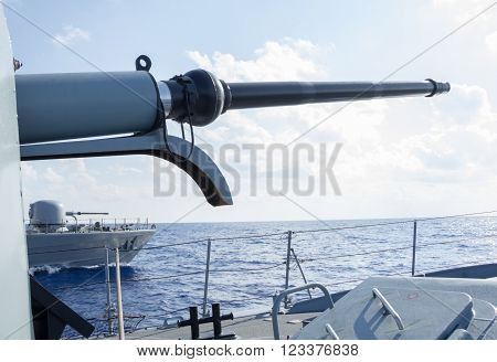 two cannons of warships in meditarran sea